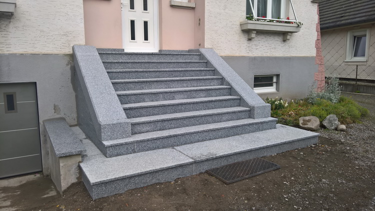 Escalier ext rieur en granit du tarn flamm r alisation for Pose dallage exterieur